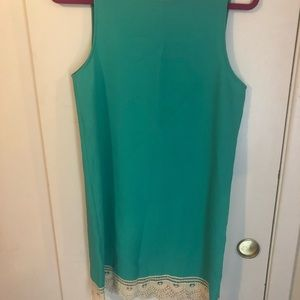 Everly turquoise sheath dress with lace hem smal
